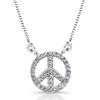 Victoria Kay 14k White Gold 1/8ct TDW Diamond Mini Peace Sign Necklace (J-K, I2-I3)