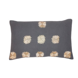 'Sufi' Charcoal Grey Floral Accent 12x20-inch Pillow