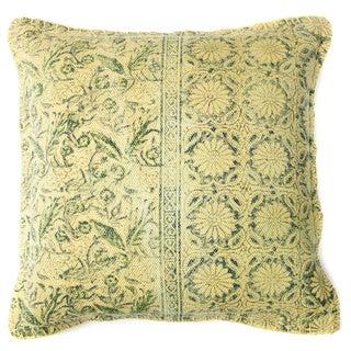 Art Floral-hand Block Print 20-inch Decorative Accent Pillow