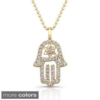 Victoria Kay 14k White Gold 1/5ct TDW Diamond Hamsa/ Star of David Necklace