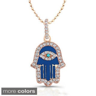 Victoria Kay 14k Rose Gold 1/5ct TDW Diamond Enamel Hamsa Necklace (J-K, I2-I3)