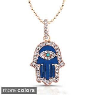Victoria Kay 14k Rose Gold 1/5ct TDW Diamond Enamel Hamsa Necklace (J-K, I2-I3)