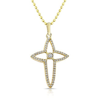 Victoria Kay 14kt Yellow Gold 1/6ct TDW Diamond Cross Necklace
