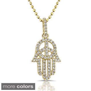 Victoria Kay 14k Gold 1/5ct TDW Diamond Hamsa Peace Sign Necklace (I-J, I1-I2)