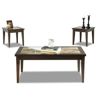 Made to Order Anderson 3-piece Chocolate/ Faux Marble Accent Table Set