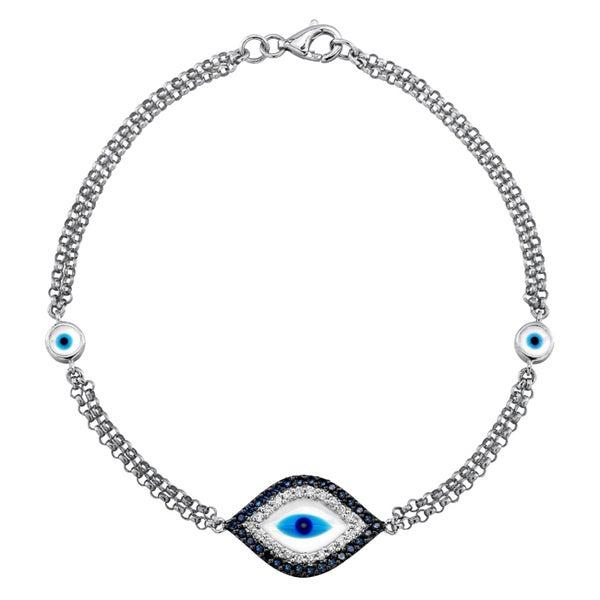 14k White Gold 1/6ct TDW Diamond/ Sapphire and Enamel Evil Eye Bracelet (J-K, I2-I3)