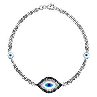 14k White Gold 1/6ct TDW Diamond/ Sapphire and Enamel Evil Eye Bracelet (J-K, I2-I3)