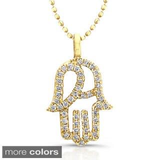 Victoria Kay 14k Gold 1/5ct TDW Diamond Hamsa Necklace (J-K, I2-I3)