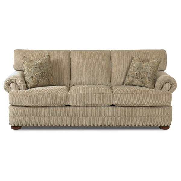 Shop Made to Order Clayton Collection Nail Head Trim Platinum Sofa ...