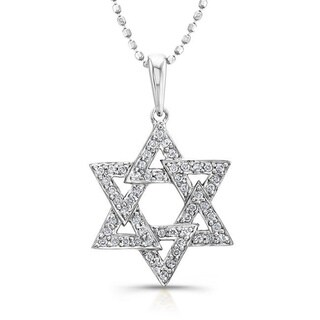 Victoria Kay 14k White Gold 1/6ct TDW Diamond Star Of David Necklace (I-J, I1-I2)