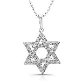 Victoria Kay 14k White Gold 1/6ct TDW Diamond Star Of David Necklace