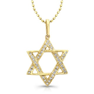 Victoria Kay 14k Yellow Gold 1/10ct TDW Diamond Star of David Necklace (I-J, I1-I2)