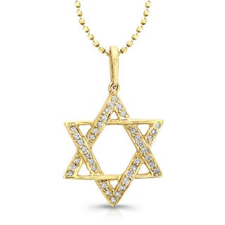 Victoria Kay 14k Yellow Gold 1/10ct TDW Diamond Star of David Necklace|https://ak1.ostkcdn.com/images/products/8843996/P16073784.jpg?impolicy=medium