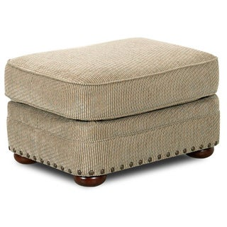 Made to Order Clayton Collection Nail Head Trim Platinum Ottoman