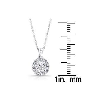 Victoria Kay 14k White Gold 1ct TDW Diamond Halo Pendant Necklace (G-H, I2)
