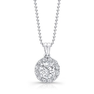 Victoria Kay 14k White Gold 1ct TDW Diamond Halo Pendant Necklace
