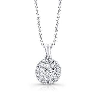 Victoria Kay 14k White Gold 1ct TDW Diamond Halo Pendant Necklace