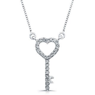 14k White Gold 1/10ct TDW Diamond Mini Heart Key Pendant