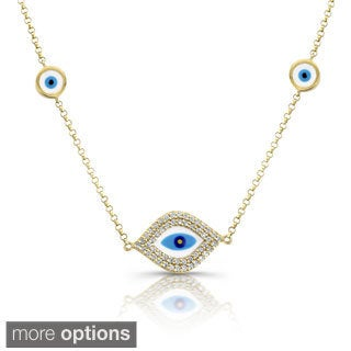 Victoria Kay 14k White Gold 1/3ct TDW Diamond and Enamel Evil Eye Necklace