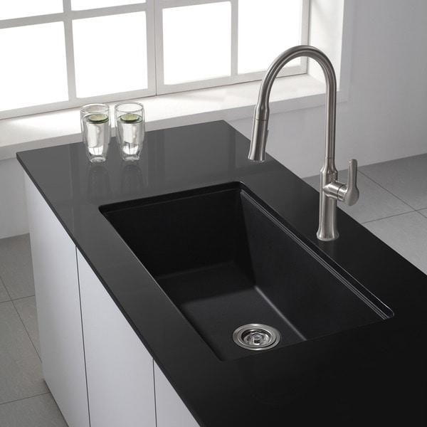 Kraus 31 Inch Undermount Single Bowl Black Onyx Granite Kitchen Sink Free Shipping Today