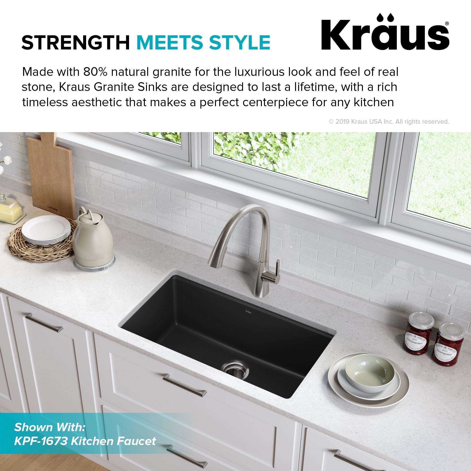 Kraus KGU-413B Undermount 31 inch 1-Bowl Granite Kitchen Sink Black