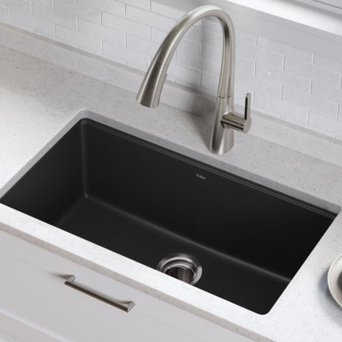 Kraus KGU-413B Undermount 31-inch Single Bowl Granite Kitchen Sink in Black Onyx