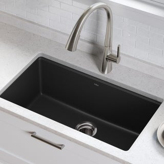 KRAUS 31-inch Undermount Single Bowl Black Onyx Granite Kitchen Sink