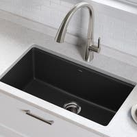 Kraus KGU-413B Undermount 31-in 1-Bowl Granite Kitchen Sink, Black Onyx, Strainer, Towel