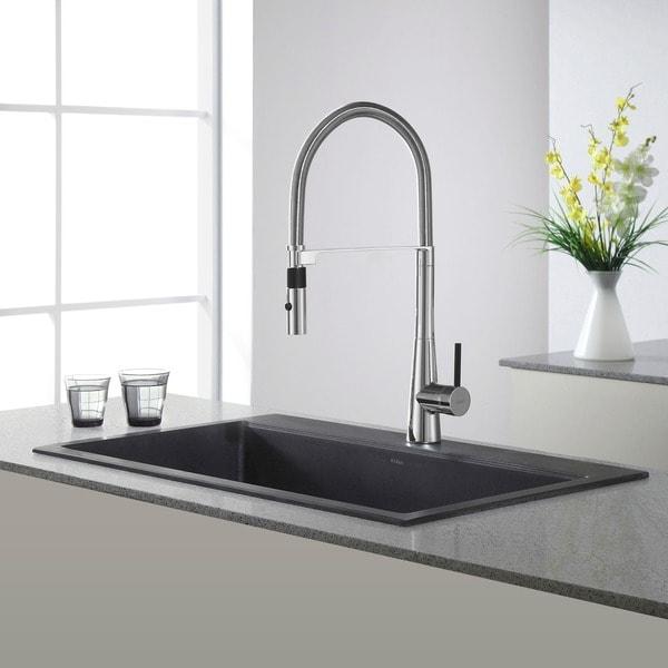 Kraus 31 Inch Dual Mount Single Bowl Granite Kitchen Sink