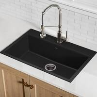 Kraus KGD-412B Undermount Drop-in Dual Mount 31-in 1-Bowl Granite Kitchen Sink, Black Onyx, Strainer, Towel