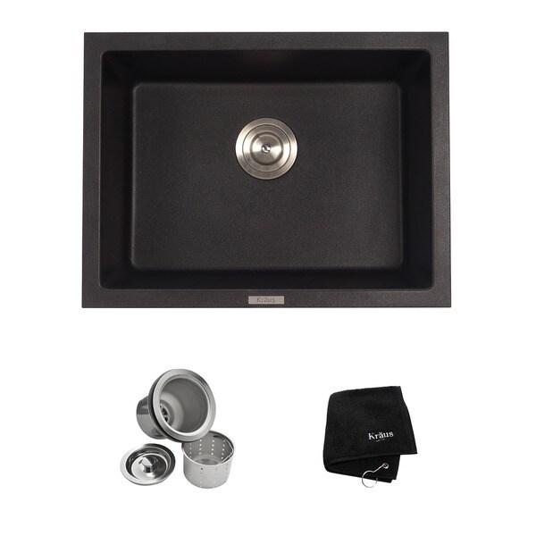 KRAUS 24 Inch Dual Mount Single Bowl Granite Kitchen Sink W/ Topmount And  Undermount