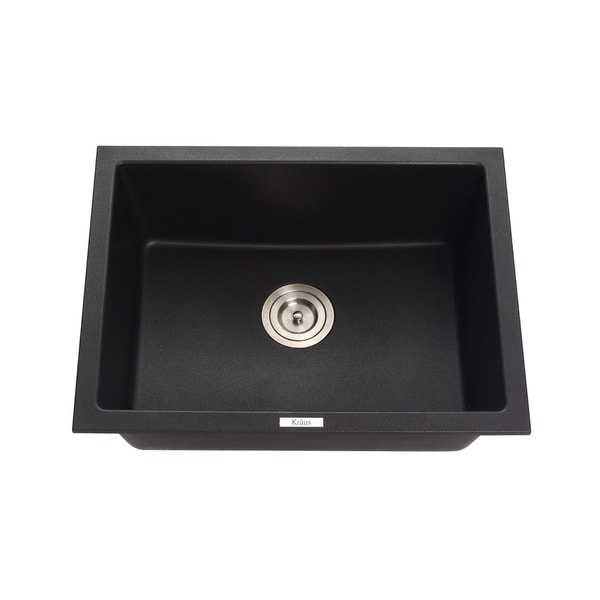 KRAUS 24 Inch Dual Mount Single Bowl Granite Kitchen Sink W/ Topmount And  Undermount Installation   Free Shipping Today   Overstock.com   16073798