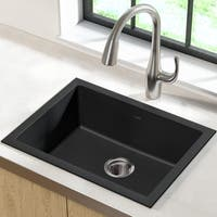 Kraus KGD-410B Undermount Drop-in Dual Mount 24-in 1-Bowl Granite Kitchen Sink, Black Onyx, Strainer, Towel