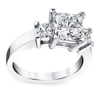 Platinum 3 1/2ct TDW Princess Certified Diamond Engagement Ring