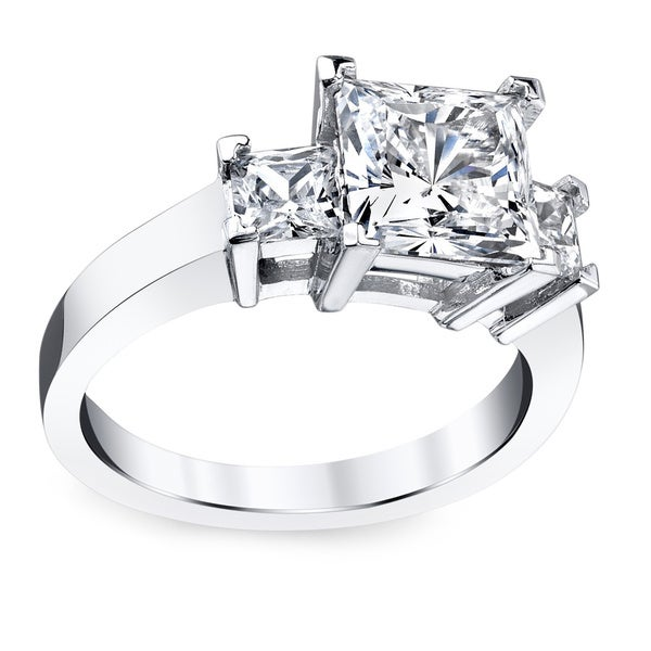 Platinum 3 1/2ct TDW Princess Certified Diamond Engagement Ring (I-J, SI3)