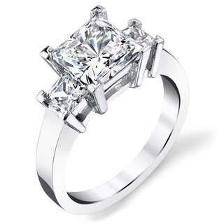 Platinum 3ct TDW Princess-cut Three Stone Diamond Ring