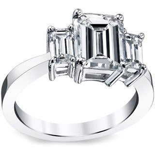Platinum 3ct TDW Emerald-cut Certified Diamond Ring (I-J, SI1)