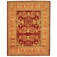 Safavieh Hand-knotted Peshawar Vegetable Dye Burgundy/ Bronze Wool Rug - 10' x 14'