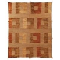 Safavieh Hand-knotted Santa Fe Modern Abstract Dark Beige Wool Rug - 8' x 10'
