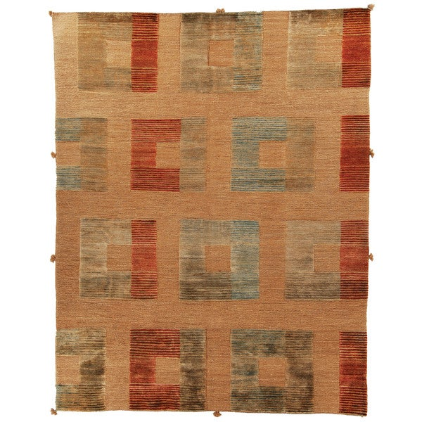 Safavieh Hand-knotted Santa Fe Modern Abstract Beige Wool Rug (8' x 10')