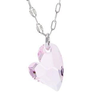 La Preciosa Sterling Silver Pink Crystal Heart Necklace