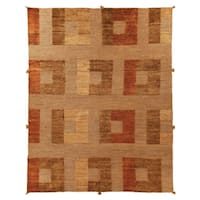 Safavieh Hand-knotted Santa Fe Modern Abstract Dark Beige Wool Rug - 6' x 9'