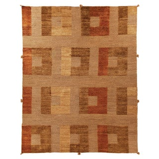 Safavieh Hand-knotted Santa Fe Modern Abstract Dark Beige Wool Rug (9' x 12')