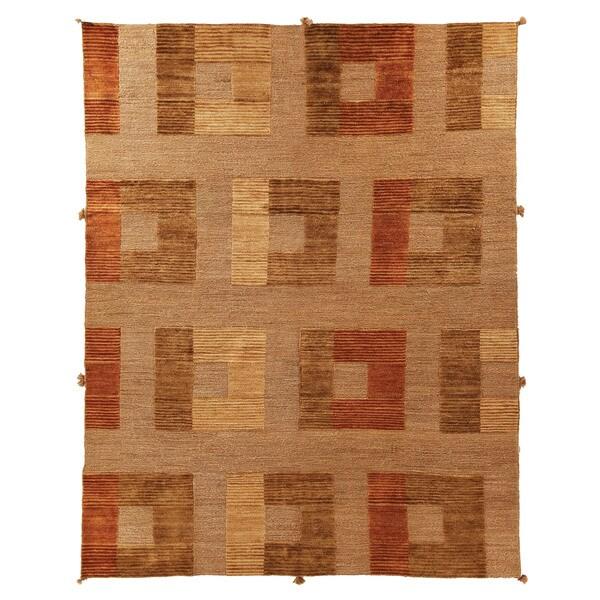 Safavieh Hand-knotted Santa Fe Modern Abstract Dark Beige Wool Rug - 9' x 12'
