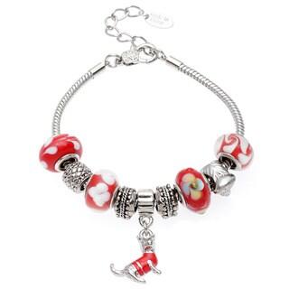 La Preciosa Silvertone Red Glass Dog Charm Bracelet