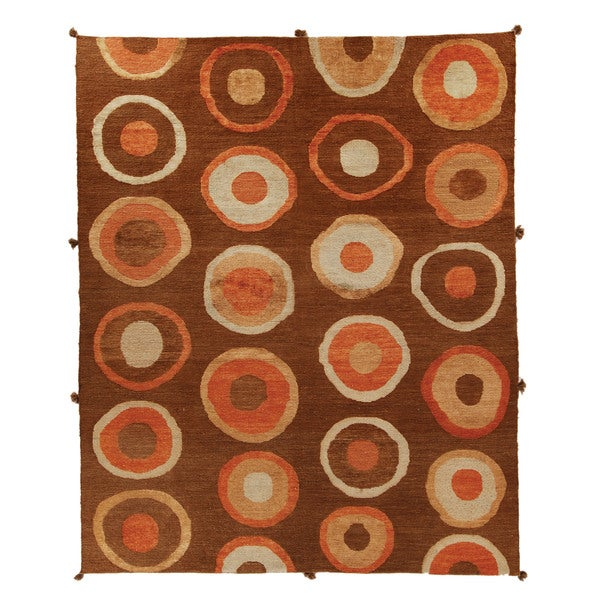 Safavieh Hand-knotted Santa Fe Modern Abstract Chocolate Wool Rug - 9' x 12'