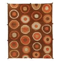 Safavieh Hand-knotted Santa Fe Modern Abstract Chocolate Wool Rug - 9' x 12'