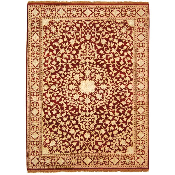 Safavieh Hand-knotted Ganges River Red/ Ivory Wool Rug - 8' x 10'