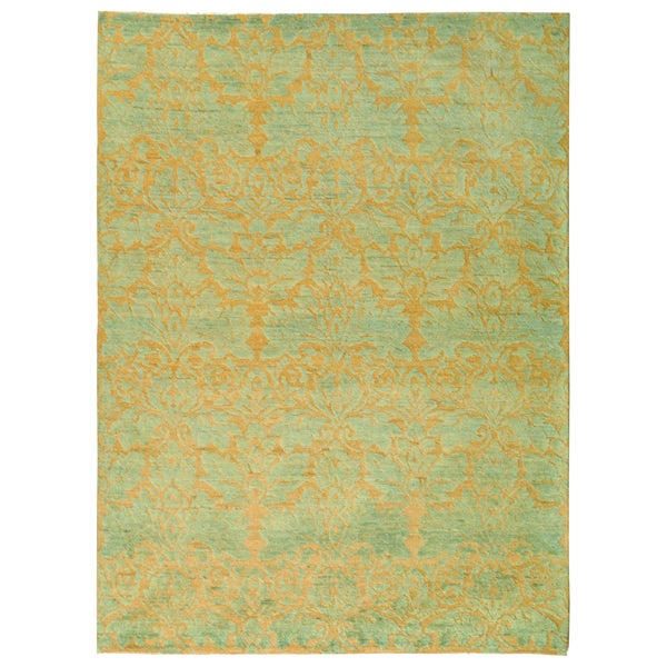 Safavieh Hand-knotted Santa Fe Contemporary Wicker/ Blue Wool Rug - 9' x 12'