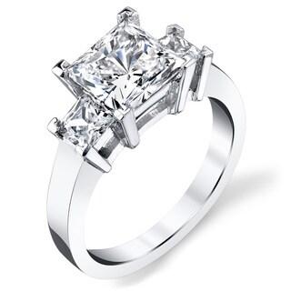 Platinum Certified 3ct TDW Princess-cut Diamond Engagement Ring (H-I, VS1-VS2)